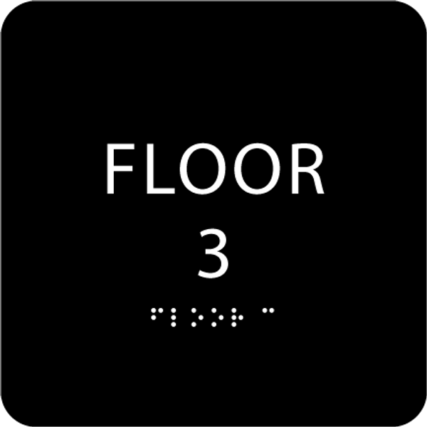 Black Floor 3 Identification Sign