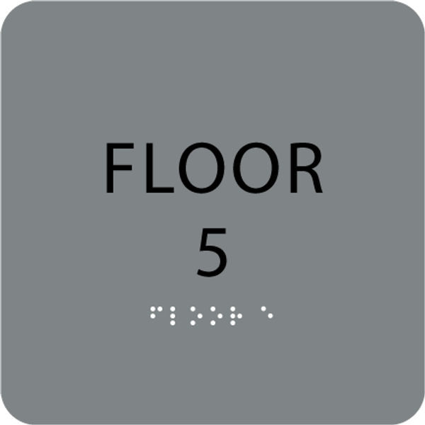 Grey Floor 5 Level Identification Sign