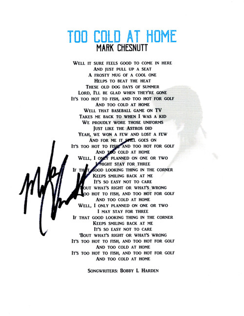 """Too Cold At Home"" Lyric Sheet"