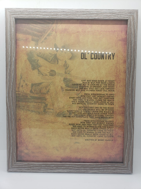 Ol' Country Framed Autographed Lyric Sheet