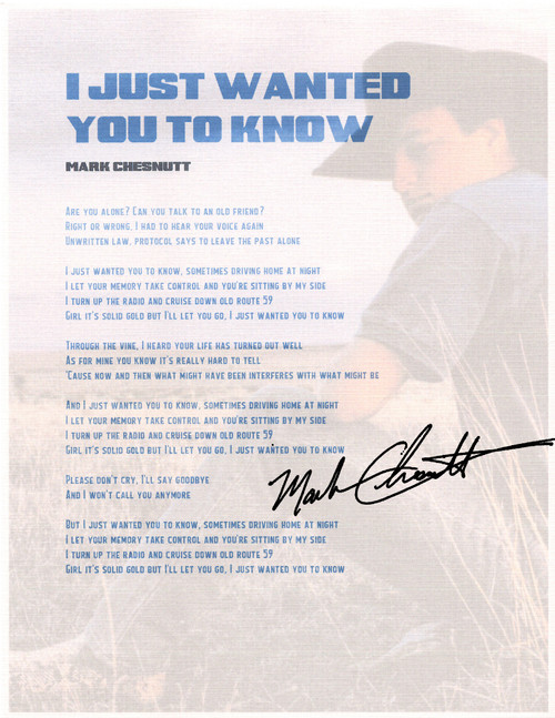 """I Just Wanted You To Know"" Lyric Sheet"