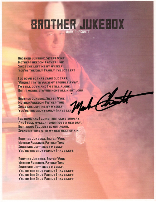"Brother Jukebox ""Framed Lyric Sheet"""