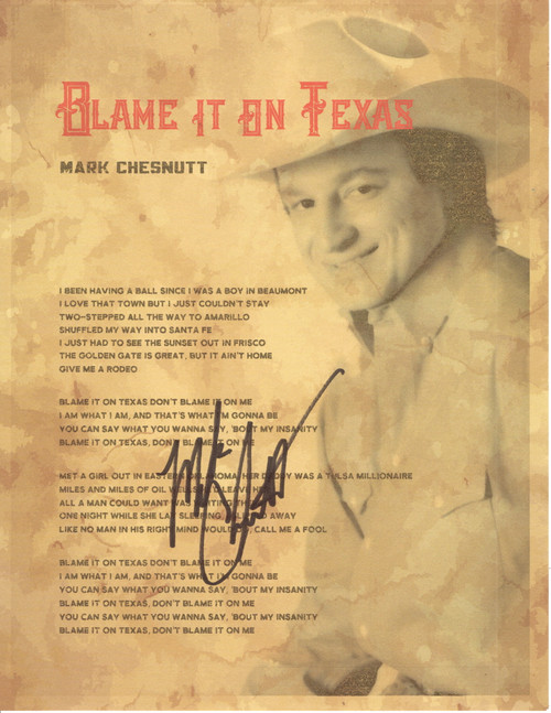 "Blame It On Texas Autographed ""Lyric Sheet"""