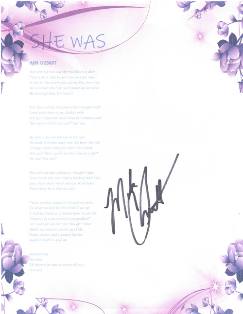 """She Was"" Autographed Lyric Sheet"