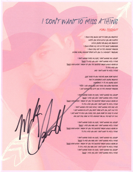 """""""I Don't Want To Miss A Thing"""" Framed Autographed Lyric Sheet"""