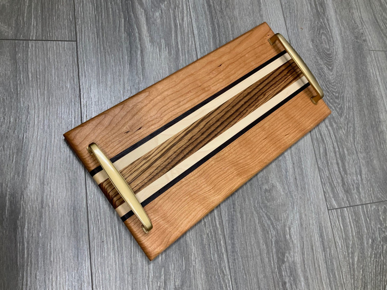 Zebrawood Middle Stripe Serving Tray w/ Gold Handles