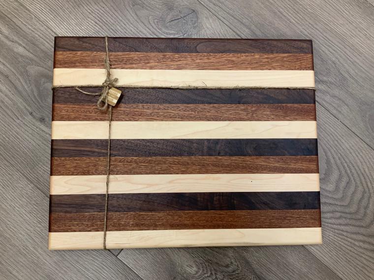 Large Walnut, Mahogany, & Maple Stripe Cutting Board