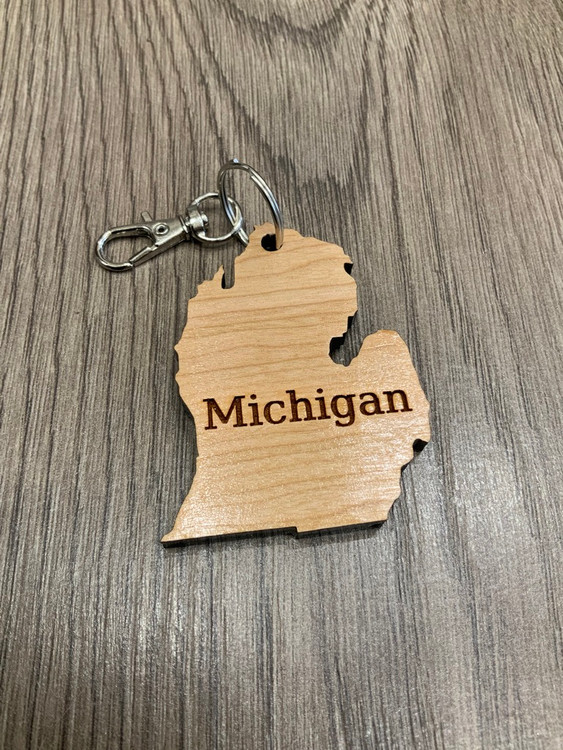 """Michigan"" Michigan Keychain (2.5x2)"