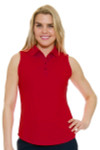 Greg Norman Essentials British Red Protek Micro Pique Sleeveless Golf Polo Shirt GN-G2S5K448-Calypso Coral Image 1