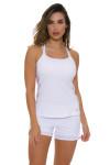 Sofibella Women's Scallop White Tennis Short SFB-1619 Image 8