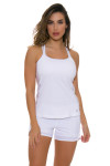 Sofibella Women's Athletic Cami White Tennis Tank SFB-1706 Image 5