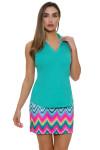 Allie Burke Seafoam Green Heather Golf Sleeveless Polo Shirt