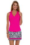 Allie Burke Neon Pink Heather Golf Sleeveless Polo Shirt