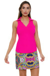Allie Burke Neon Pink Heather Golf Sleeveless Polo Shirt