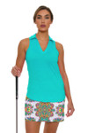 Allie Burke Seafoam Green Scarf Print Pull On Golf Skort