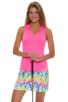Allie Burke Coral Golf Sleeveless Polo Shirt