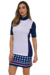 EP Pro NY Women's Graphic Jam Convertible Zip Mock Golf Polo EPNY-5312NCAX Image 5
