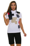 EP Pro NY Women's Gold Standard Placed Puzzle Print Golf Short Sleeve Polo-3