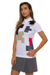 EP Pro NY Women's Gold Standard Placed Puzzle Print Golf Short Sleeve Polo-4