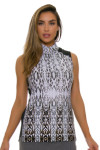 EP Pro NY Women's Gold Standard Animal Print Golf Sleeveless Shirt-2