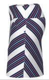 Allie Burke Cross Stripe Navy Coral Pull On Golf Skort