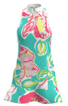 Allie Burke Seafoam Orchid Print Flounce Golf Dress