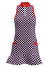 Allie Burke Mosaic Blue Flounce Golf Dress (GD003-MOSBWR)