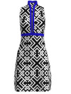 ABSport Geo White Black Royal Stripe Golf Dress