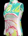 AB SPORT Orchid Print Women's Golf Sleeveless Zip Mock Polo Shirt
