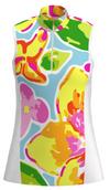 AB SPORT Yellow Flowers Women's Golf Sleeveless Zip Mock Polo Shirt