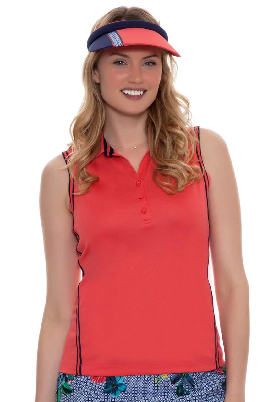 494b0ea55744b9 EP Pro Women s Rittenhouse Cardinal Stripe Tape Trims Sleeveless Golf Polo
