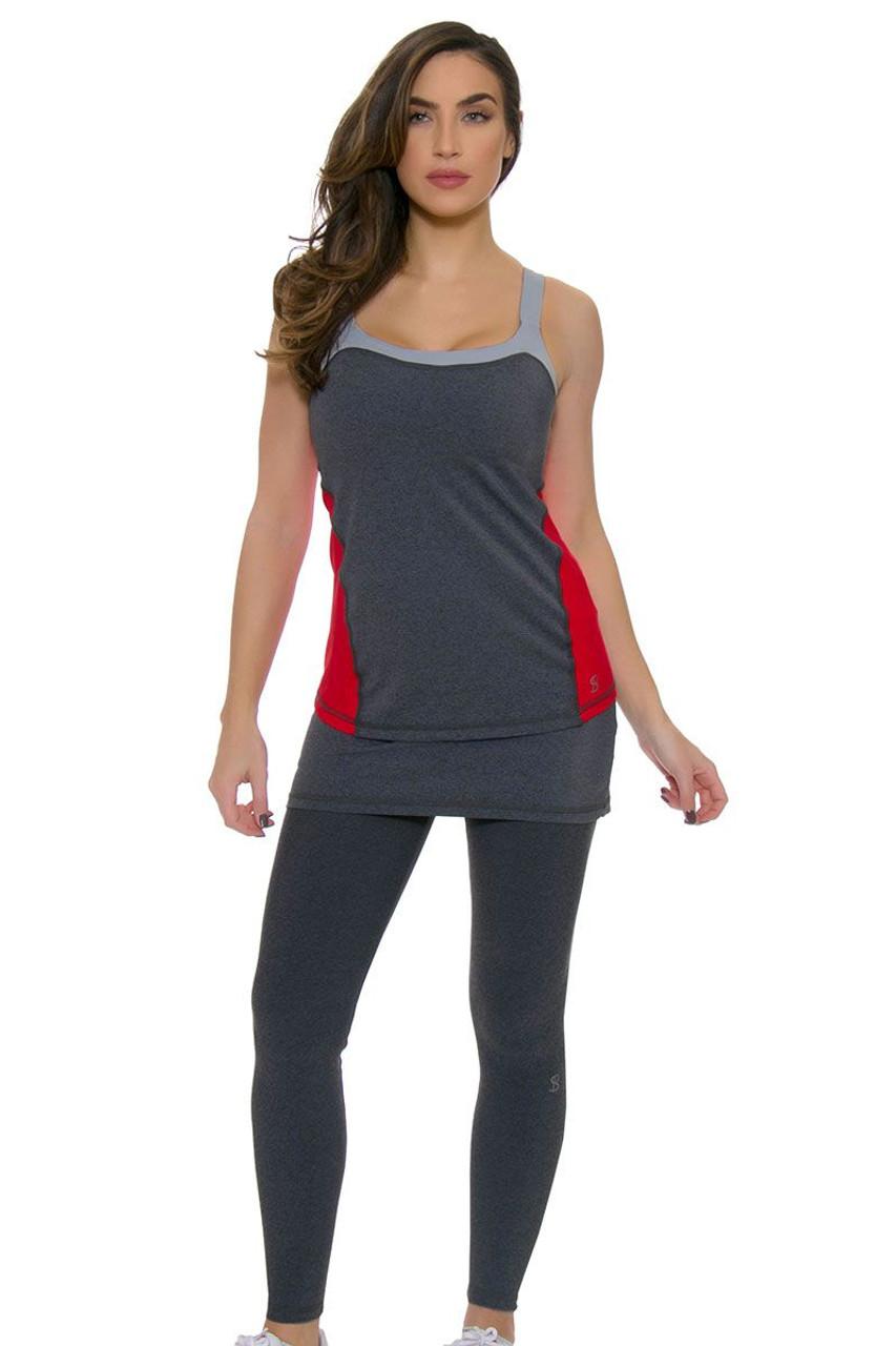 Sofibella Fleece Lined Steel Grey Tennis Skirt Leggings Sfb 1708 Steel Grey Grey Skirt Leggings