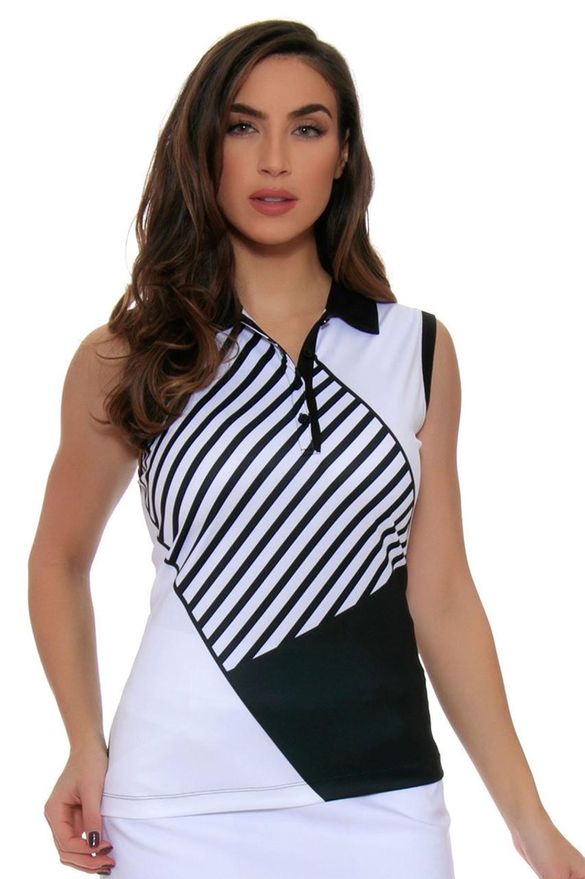 Ep Pro Womens Power Play Geometric Stripe Blocked Print Sleeveless