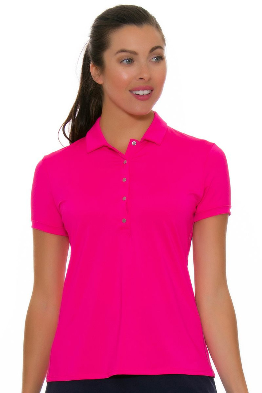 Lucky In Love Women s Divine Le Snap Shocking Pink Golf Polo LIL ... 64f05ed734