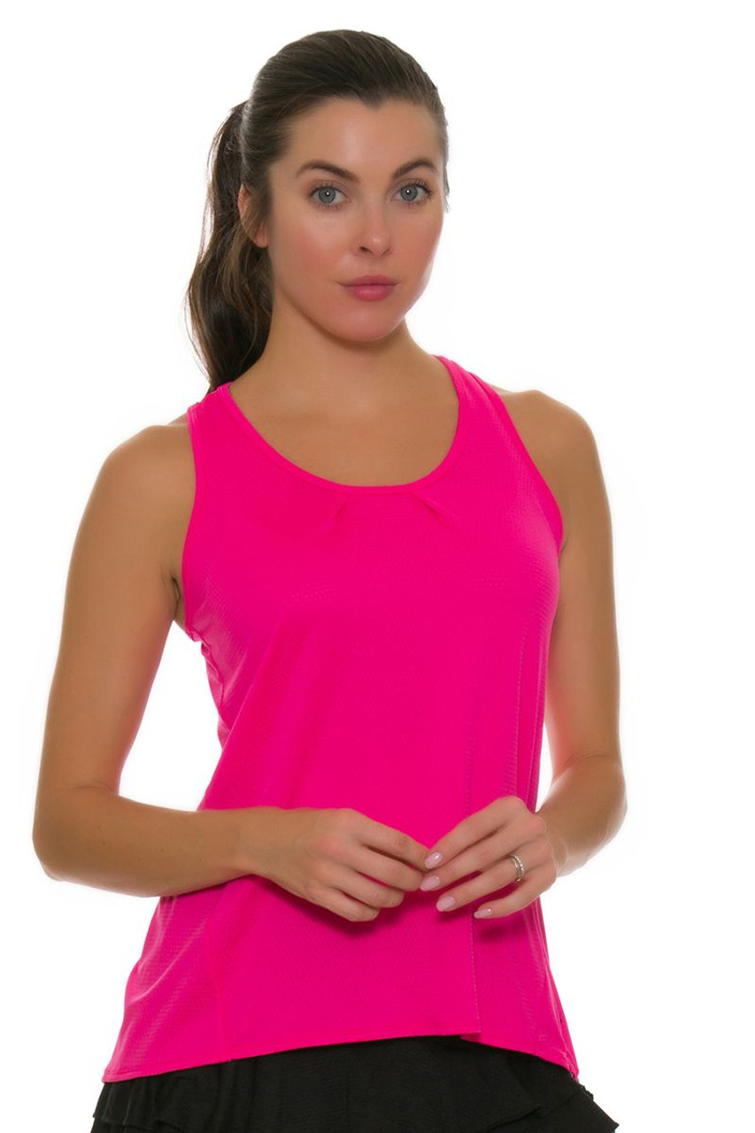 ff141c5644606 Lucky In Love Women s Core Tops Tie Back Shocking Pink Tennis Tank LIL-CT327 -645