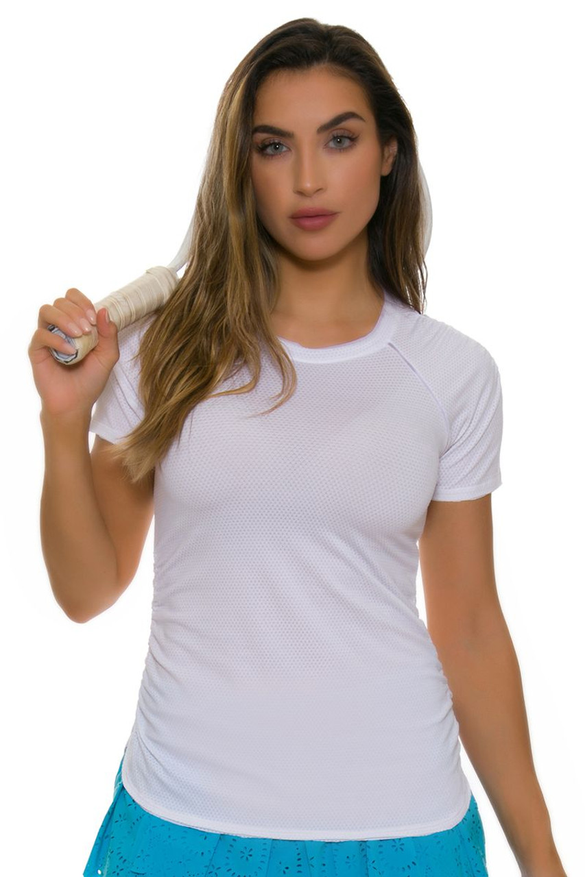 fe1ea594165b Lucky In Love Women s Core Surreal White Tennis Short Sleeve LIL-CT420-110