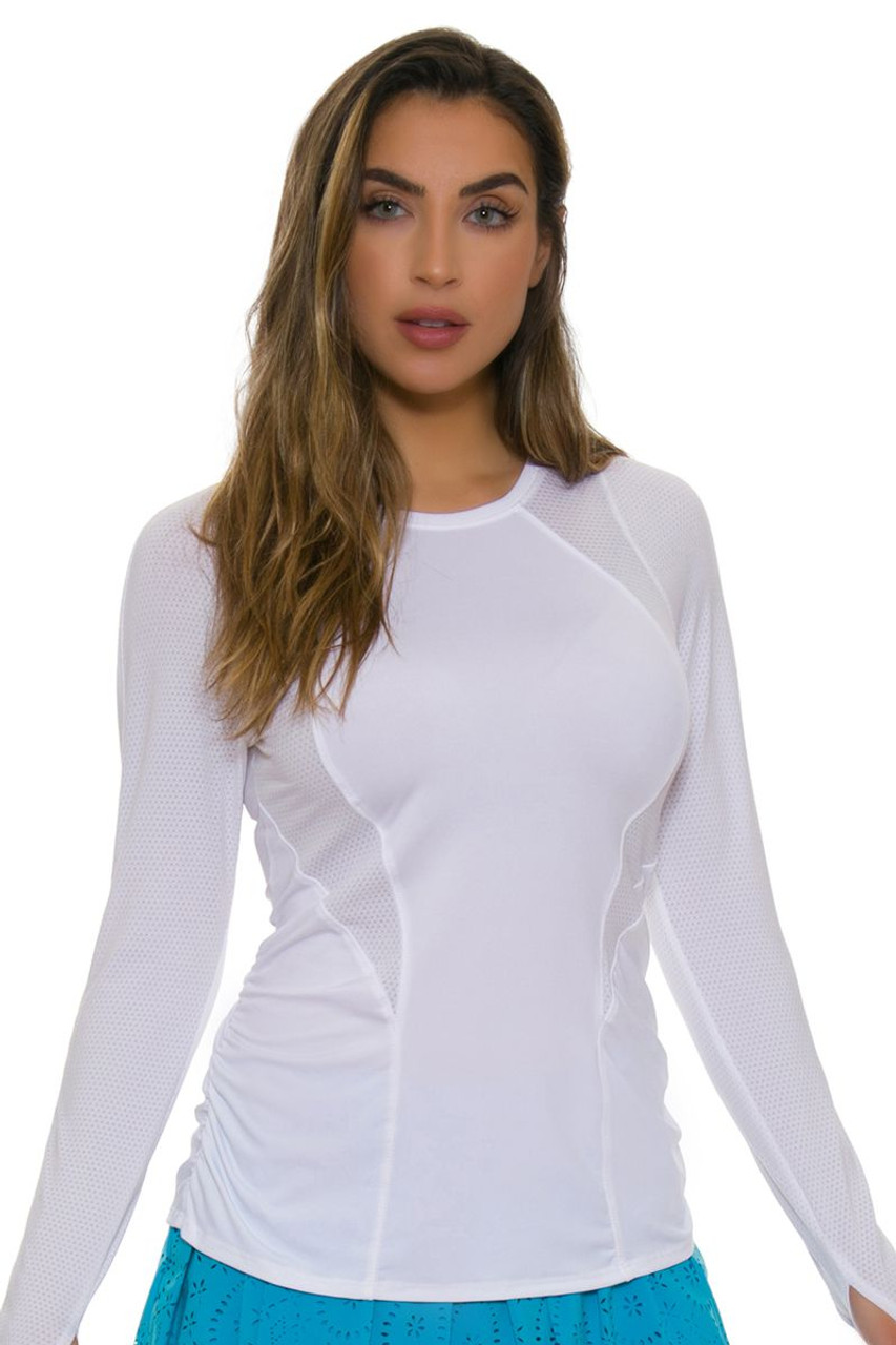 2d56d6333cc6 Lucky In Love Women s Core Contour White Tennis Long Sleeve LIL-CT460-110