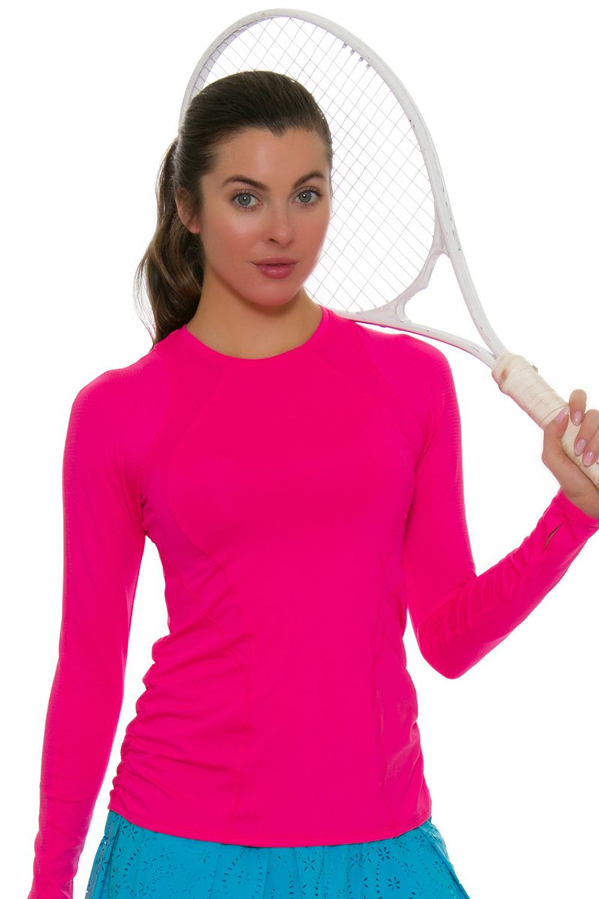 bfb08f51d583 Lucky In Love Women s Core Contour Shocking Pink Tennis Long Sleeve  LIL-CT460-645