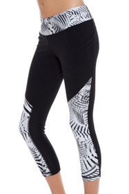 e79bbc45016fa New Balance Women's Black-White Printed Workout Crop Tight NB-WP61100-048  Image