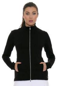 64623a328f5 Sofibella Women's Basic UV Protect Fitted Black Jacket SFB-6006-Black Image  3