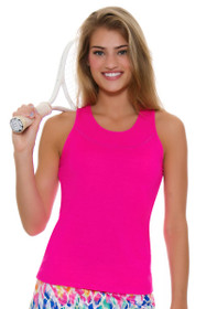 af5f49532ae7d Lucky In Love Women s Core Tops Tie Back Shocking Pink Tennis Tank ...