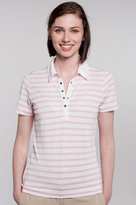 Preppy Stripe Ladies Golf Polo
