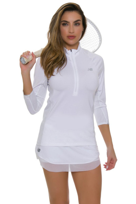 New Balance White Mesh Hem Tournament Tennis Skirt