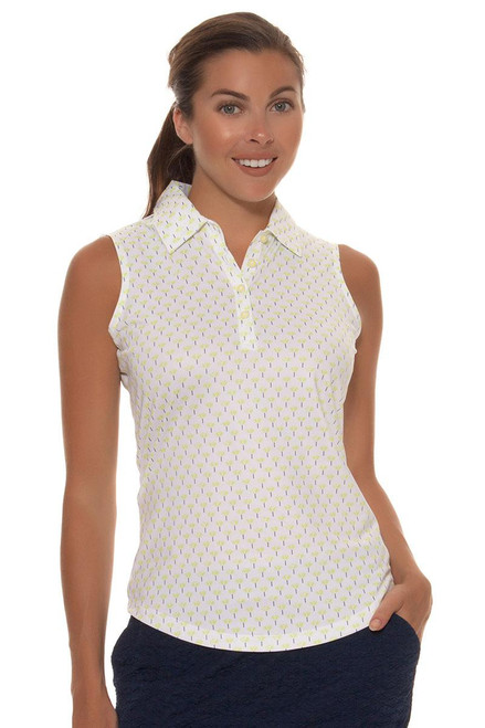 Greg Norman Women's Key Largo Ditzy Print Sleeveless Golf Shirt