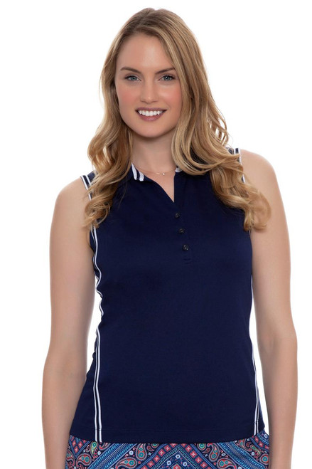 EP Pro Women's Rittenhouse Stripe Tape Trims Sleeveless Golf Polo