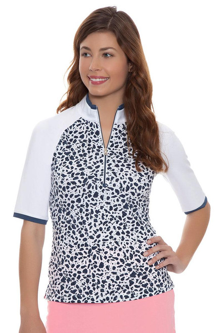 Fairway and Greene Women's Key Biscayne Tessa Elbow Sleeve Zip Mock Golf Top