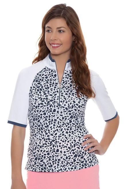 Fairway and Greene Women's Key Biscayne Tessa Elbow Sleeve Zip Mock Golf Top