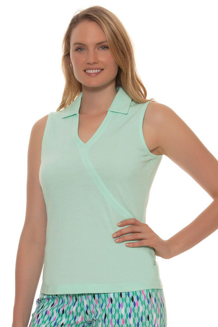 EP Pro Women's Paradise Found Faux Crossover Sleeveless Golf Polo Shirt
