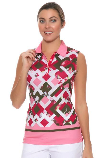 EP Sitting Pretty Trellis Floral Border Print Golf Sleeveless Shirt