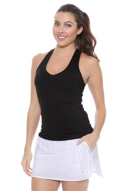 Lucky In Love Women's Fringe Boxer White Fringe Tennis Skirt